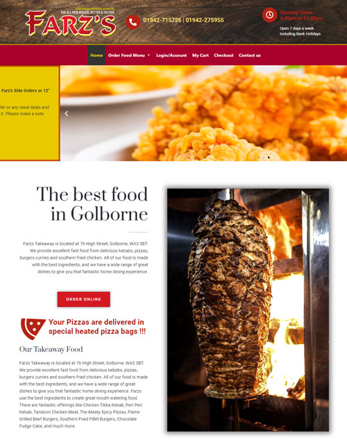 A picture of web design for Farz's takeaway in Golborne, Warrington.